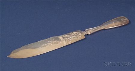 """Tiffany & Company Sterling """"Palm"""" Pattern Cake Knife"""