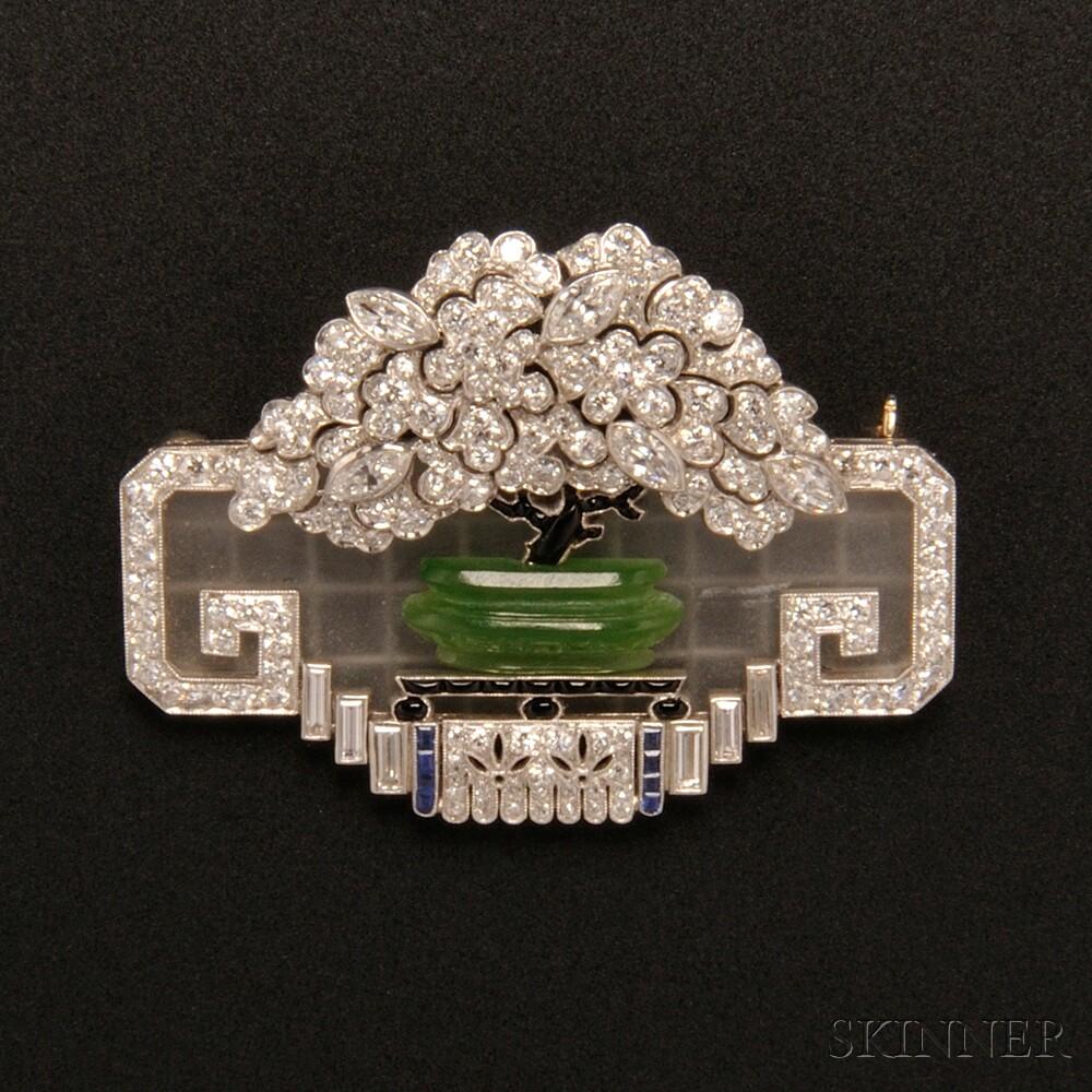 Art Deco Diamond and Gem-set Brooch, J.E. Caldwell & Co.