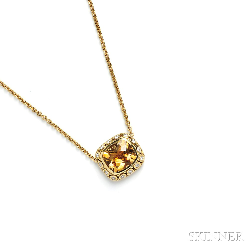 18kt Gold, Citrine, and Diamond Pendant, SeidengGang