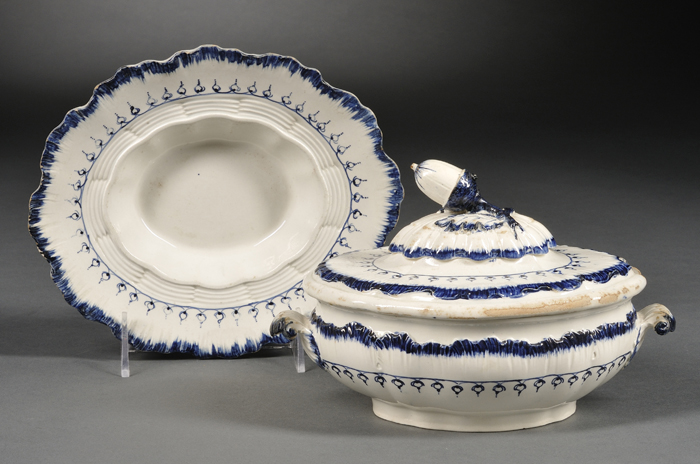 Wedgwood Mared Pattern Pearlware Covered Sauce Tureen and a Dish