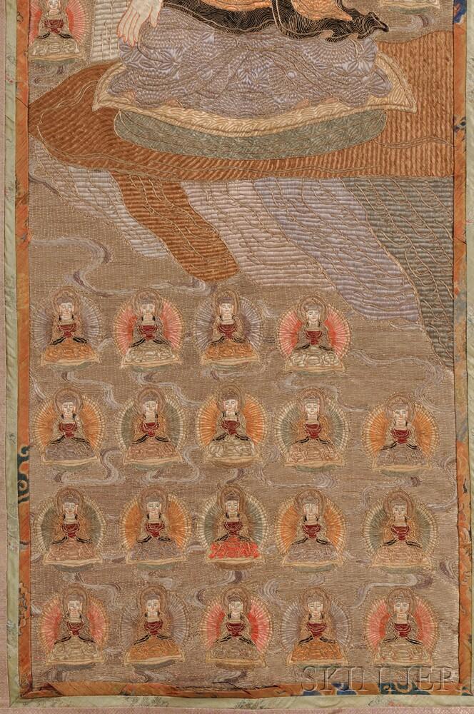 Buddhist Textile Panel Depicting The Western Paradise