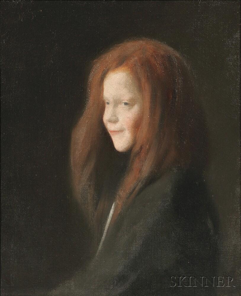 Charles Sprague Pearce (American, 1851-1914)      La Petite Rieuse