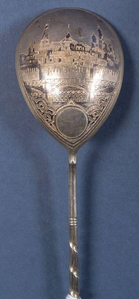 Russian Silver Niello Tablespoon