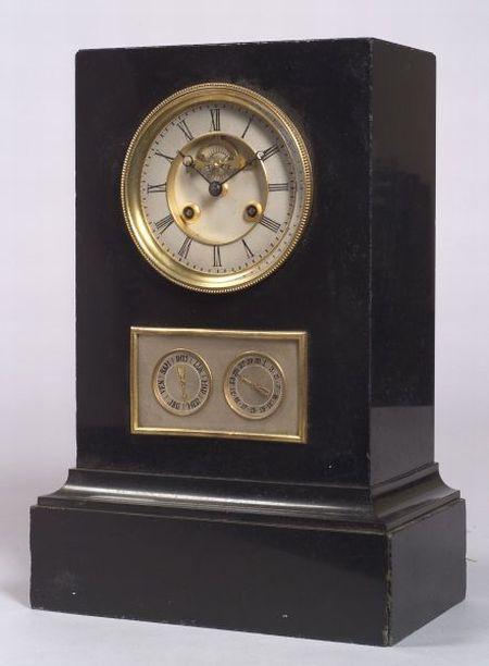 French Directoire-style Slate Calendar Shelf Clock