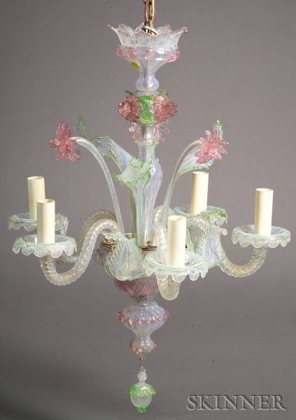 Murano Opalescent and Applied Colored Glass Five-Arm Chandelier.
