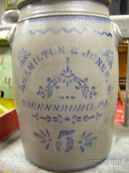 Hamilton & Jones, Greensboro, Pa. Cobalt Stencil-decorated Five-Gallon Stoneware Crock.