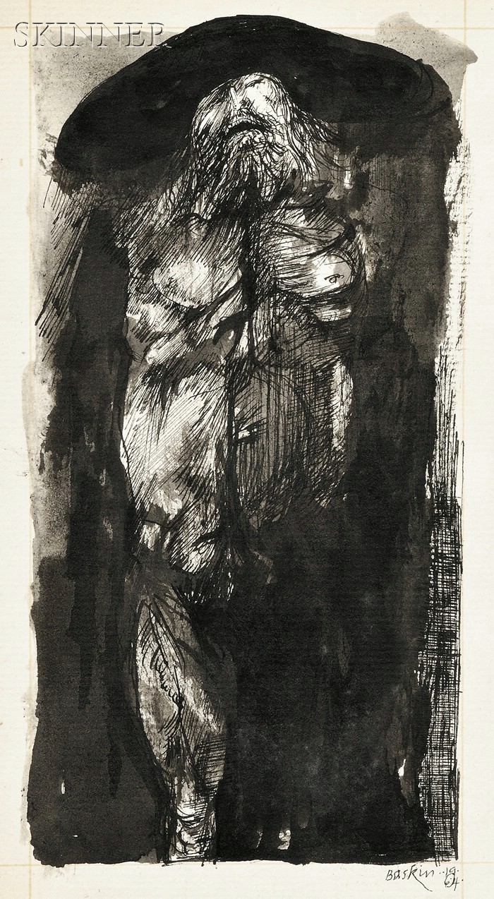 Leonard Baskin (American, 1922-2000)      Lot of Sixty-five Works, Mostly Studies, Including Drawings, Prints, and Ephemera