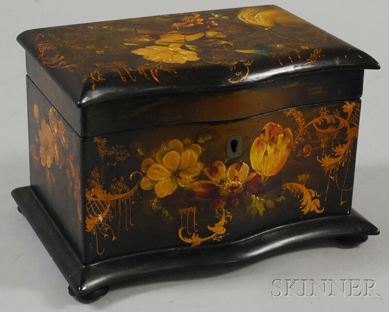 Rococo Revival Gilt and Polychrome-decorated Black Lacquered Double Tea Caddy