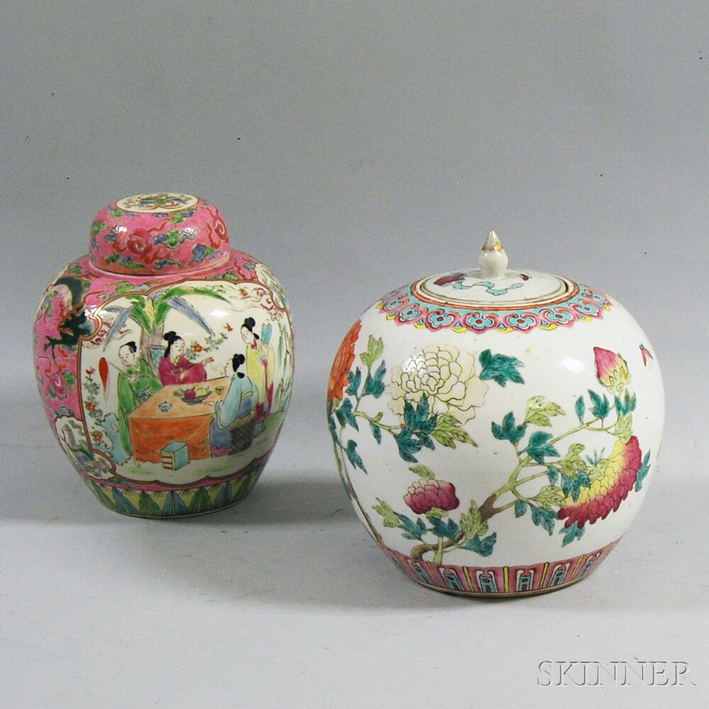 Two Chinese Famille Rose Ginger Jars