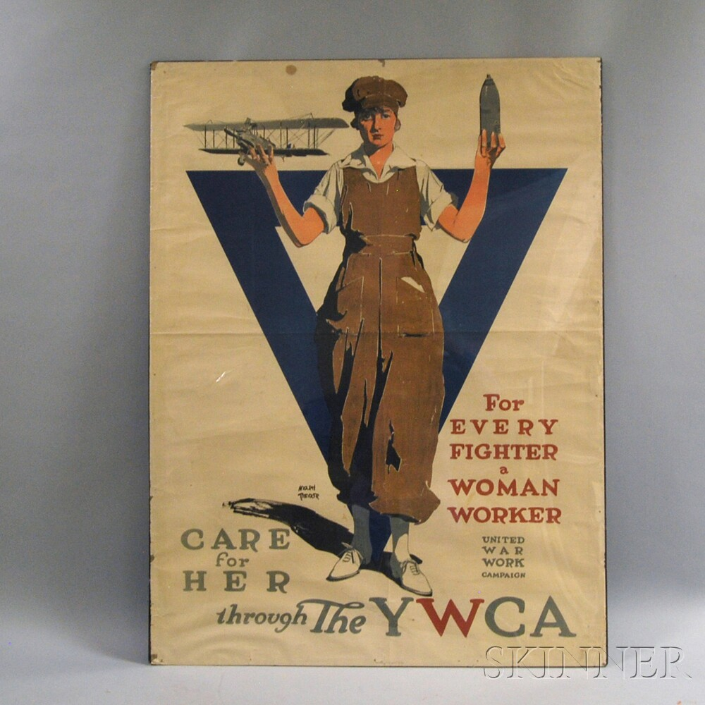 WWI YWCA For Every Fighter a Woman Worker   Lithograph Poster