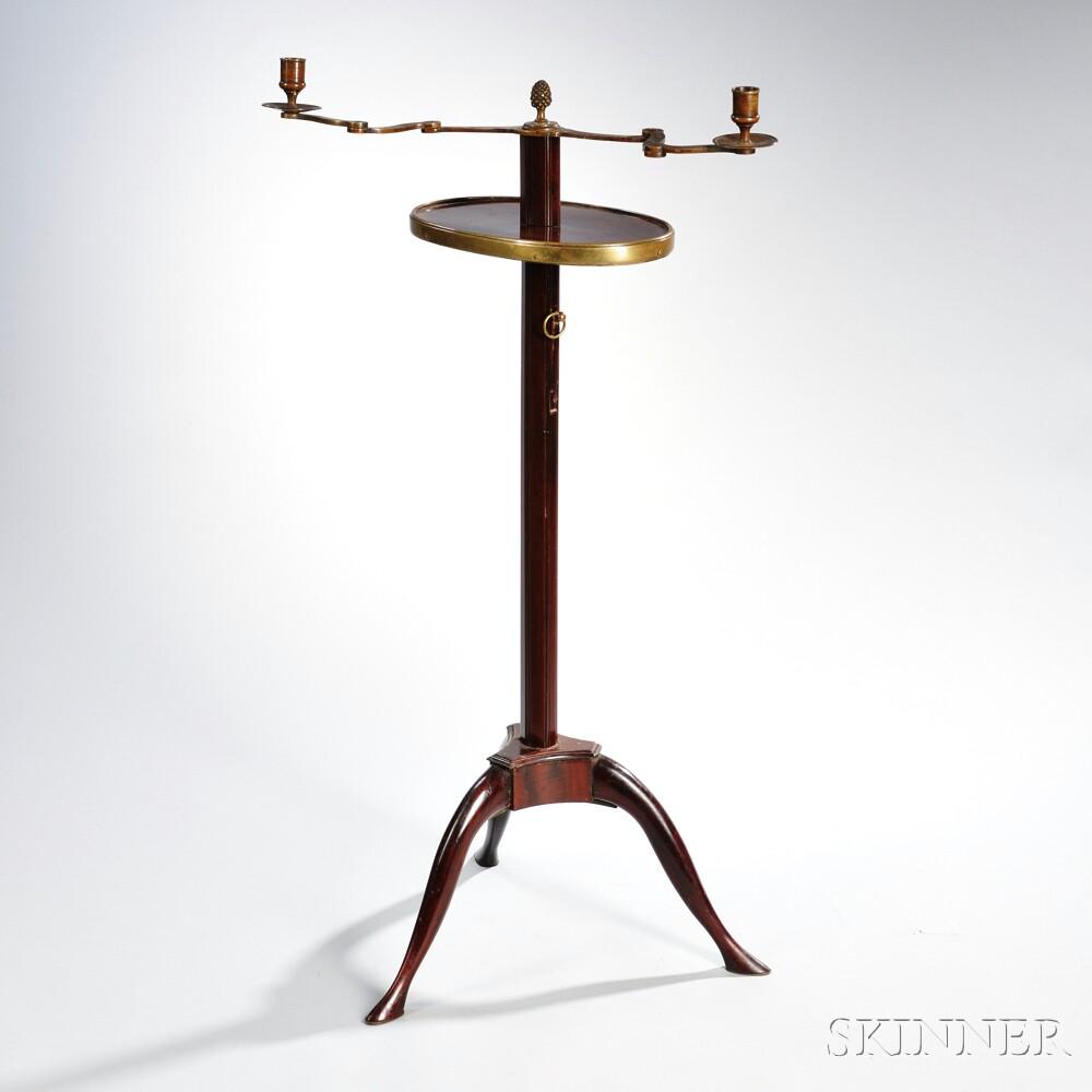 Edwardian Mahogany and Brass Candlestand