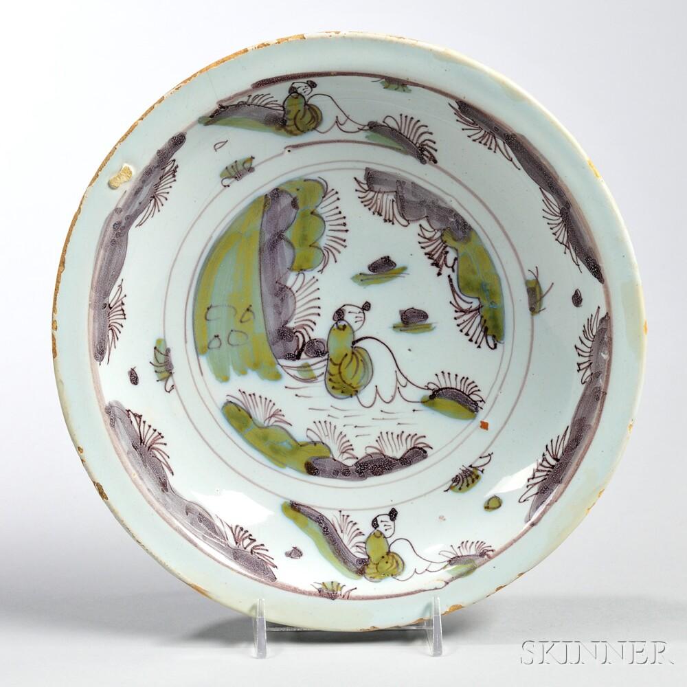 Tin-glazed Earthenware Shallow Bowl,