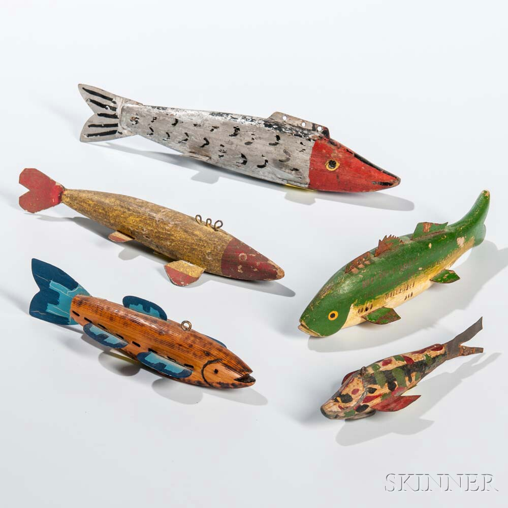 Five Carved and Painted Wooden Fish Decoys