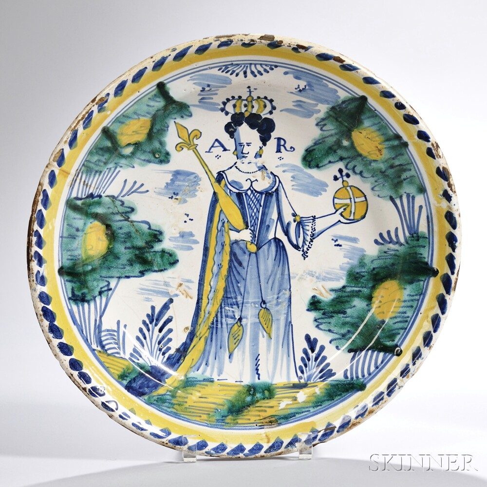 Tin-glazed Earthenware Queen Anne   Charger