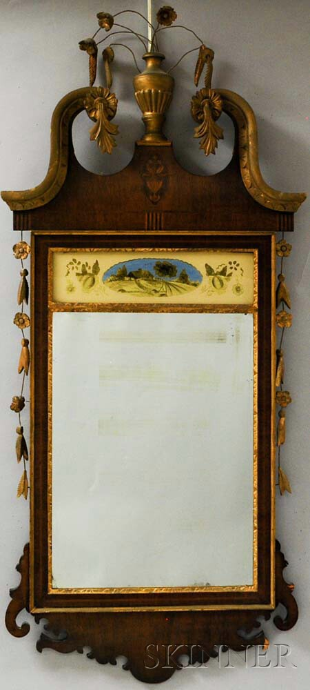 Federal-style Inlaid Mahogany Mirror
