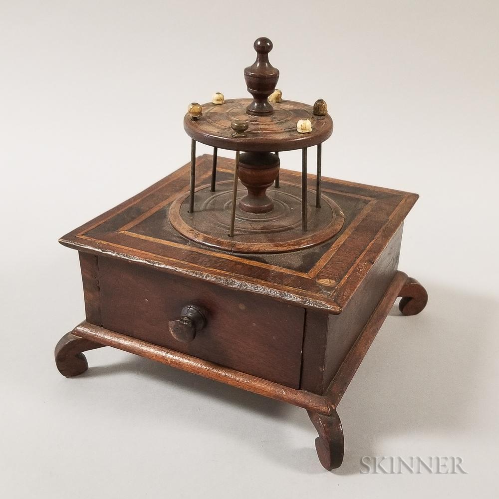 Small Sailor-made Inlaid Mahogany One-drawer Sewing Box