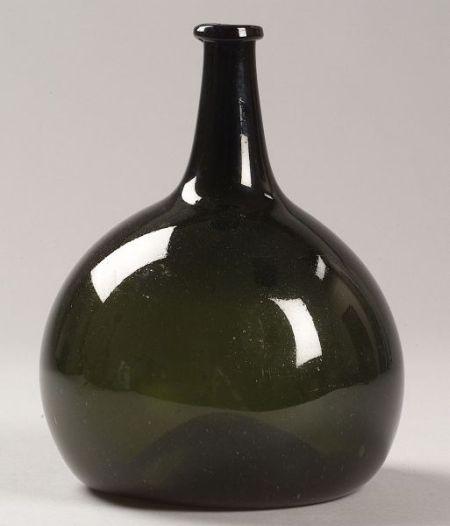 Green Blown Glass Bottle