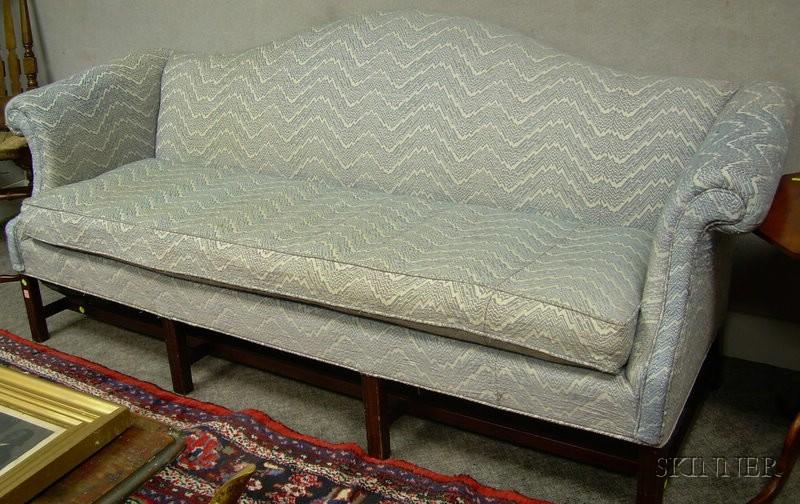 Chippendale-style Upholstered Camel-back Mahogany Sofa