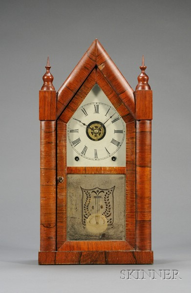 """Mahogany Sharp Gothic or """"Steeple Clock"""" by Chauncey Jerome"""