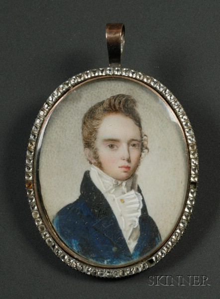 Portrait Miniature on Ivory of Young Man Dressed in a Blue Jacket with Blond Hair