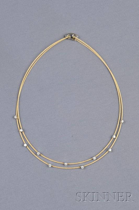 18kt Gold, Platinum, and Diamond Necklace, Morelli