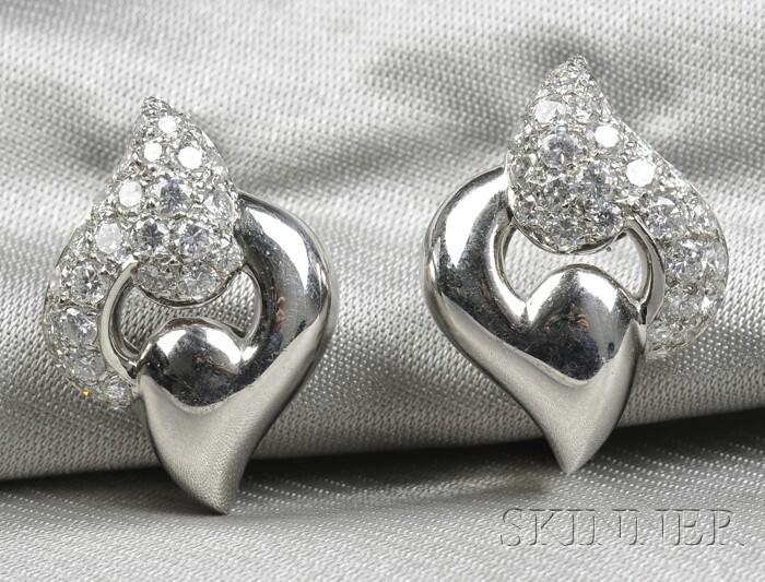 "Platinum and Diamond ""Nuvole"" Earclips, Bulgari"