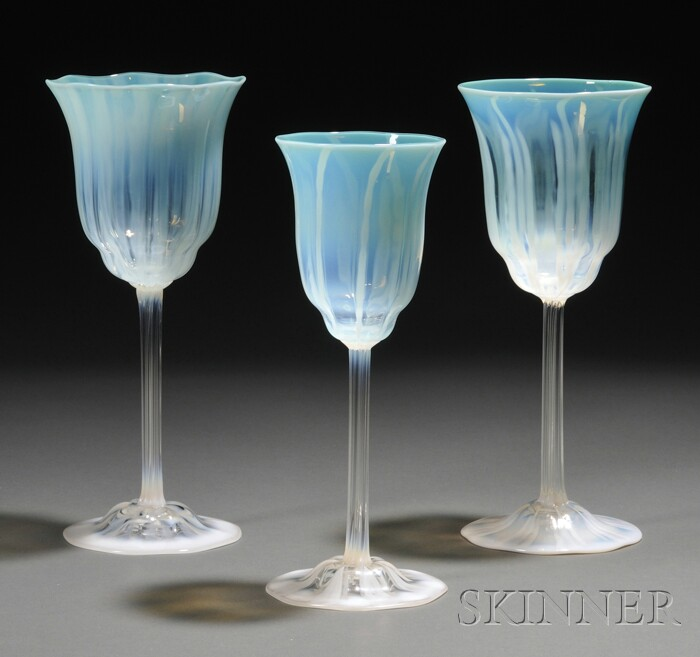Three Tiffany Favrile Glass Goblets