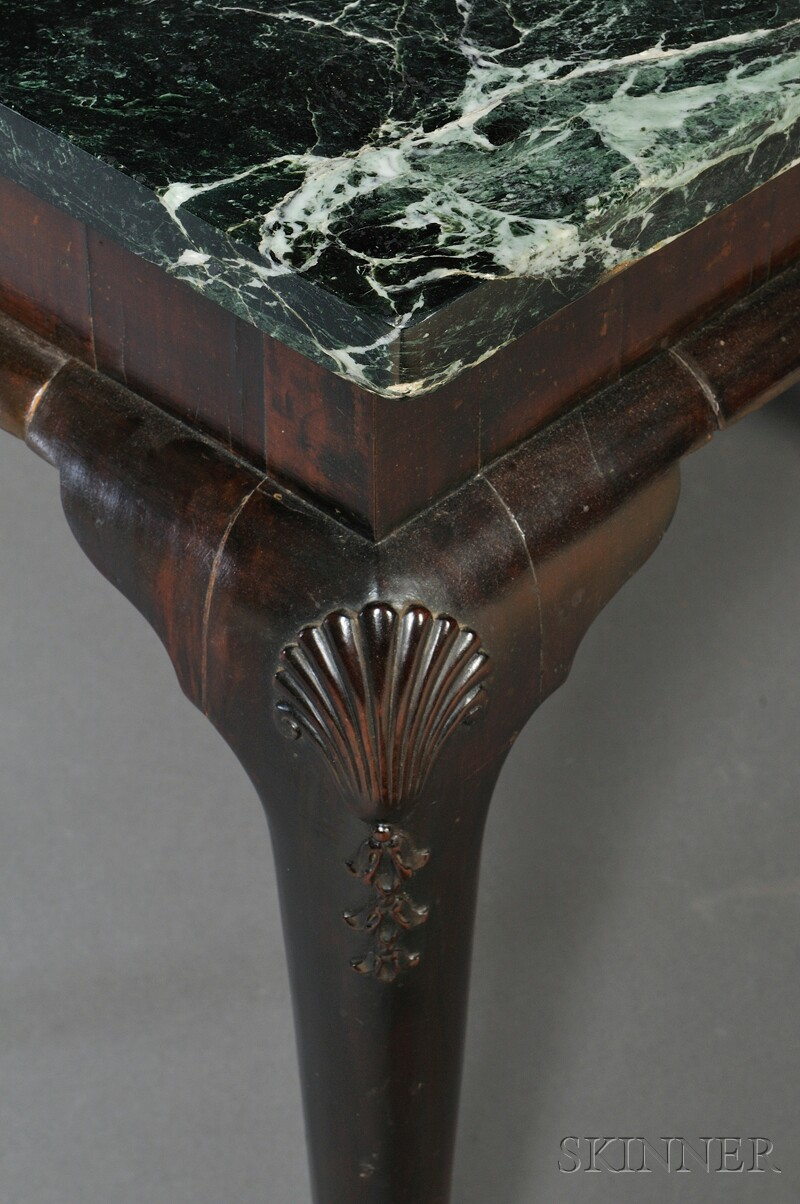 Pair of Queen Anne-style Marble-top Pier Tables