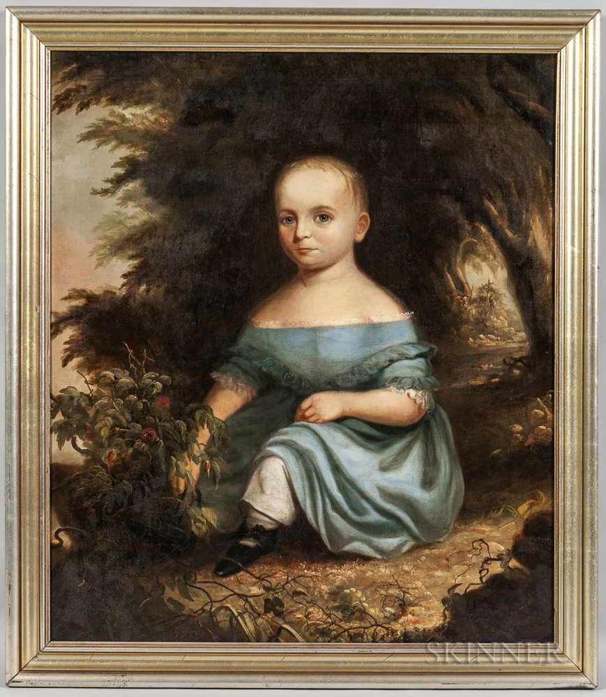Anglo/American School, 18th Century       Portrait of a Toddler in a Blue Dress