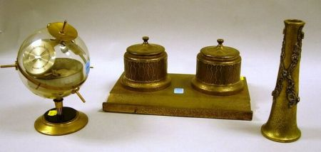 Silvercraft Gilt Acid-etched Brass Pen and Double Ink Stand, Jeweled Bud Vase, and a German Desk Barometer.