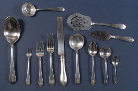 "Dominick and Haff Sterling ""Broad Antique"" Flatware Service"