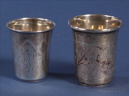 Two Russian Silver Kiddish Cups