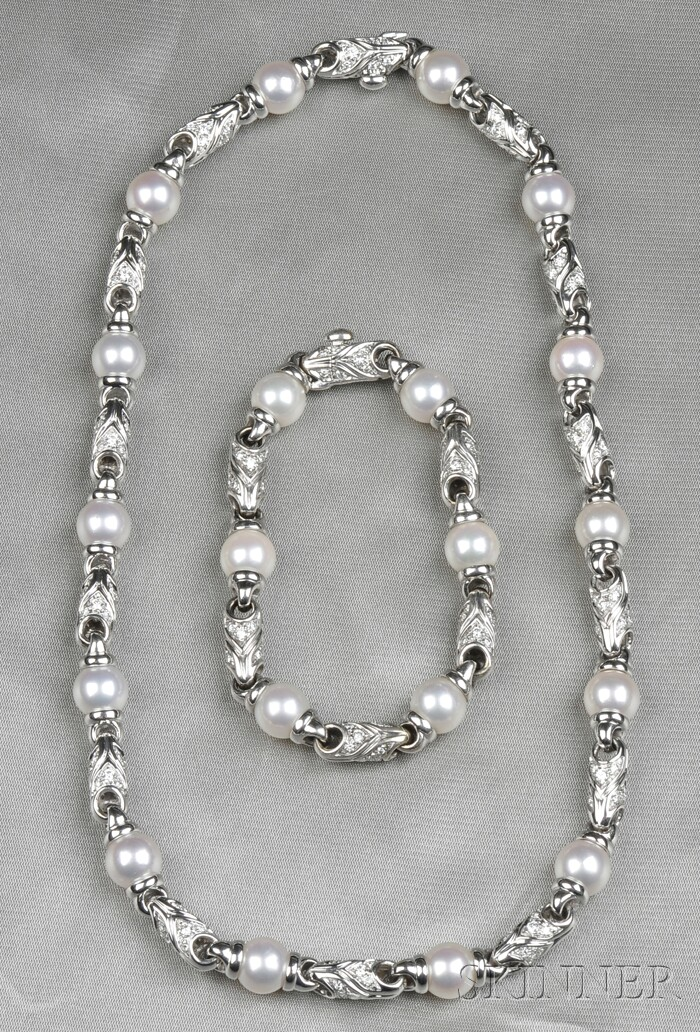 18kt White Gold, Cultured Pearl, and Diamond Convertible Suite, Bulgari