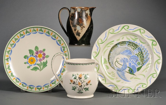 Four Assorted Wedgwood Freestyle Painted Items