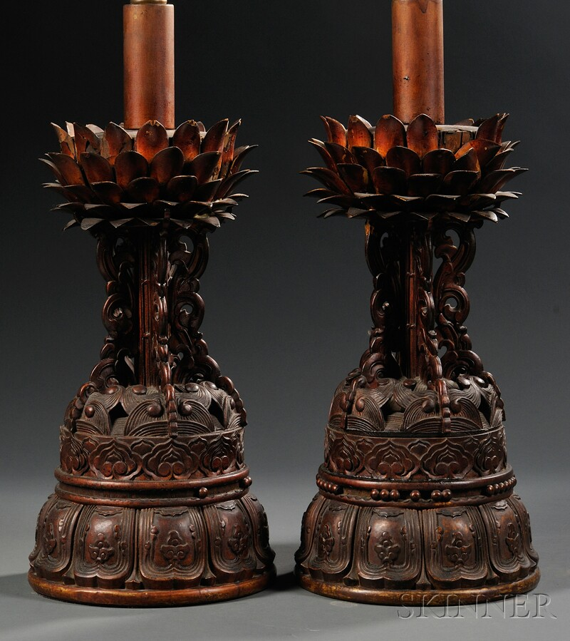 Pair of Asian Export Carved and Lacquered Wood Lamp Bases