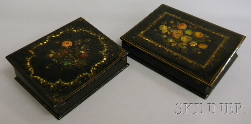Two Victorian Gilt and Polychrome Floral-decorated Mother-of-pearl Inlaid Black   Lacquered Writing Desk Boxes
