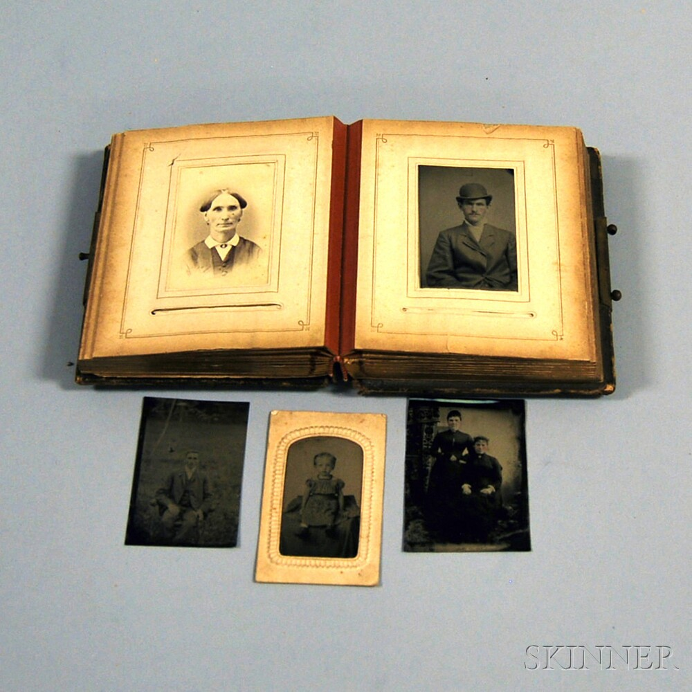 Victorian Photo Album with Tintypes, Cartes-de-visite, and Other Early Photography