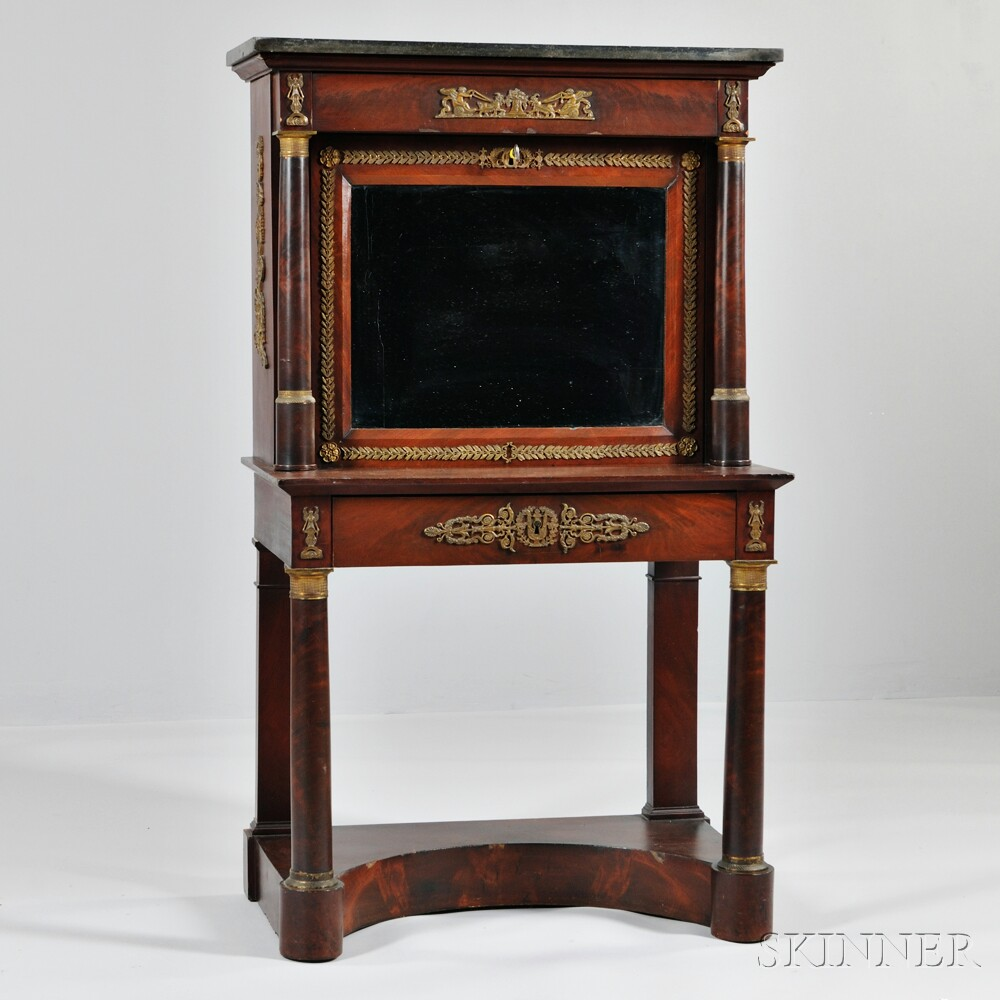 French Empire-style Mahogany Secretaire à Abattant