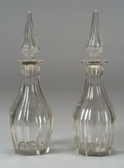 Pair of Colorless Blown Molded Paneled Glass Decanters