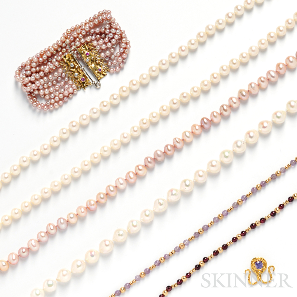 Group of Gold and Freshwater Pearl Jewelry