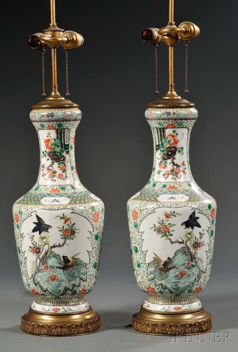 Pair of Chinese Export Porcelain Famille Verte Lamp Bases