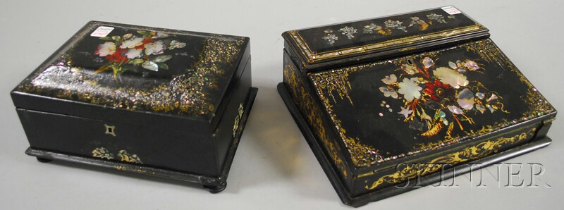 Two Gilt and Polychrome-decorated Mother-of-pearl Inlaid Boxes