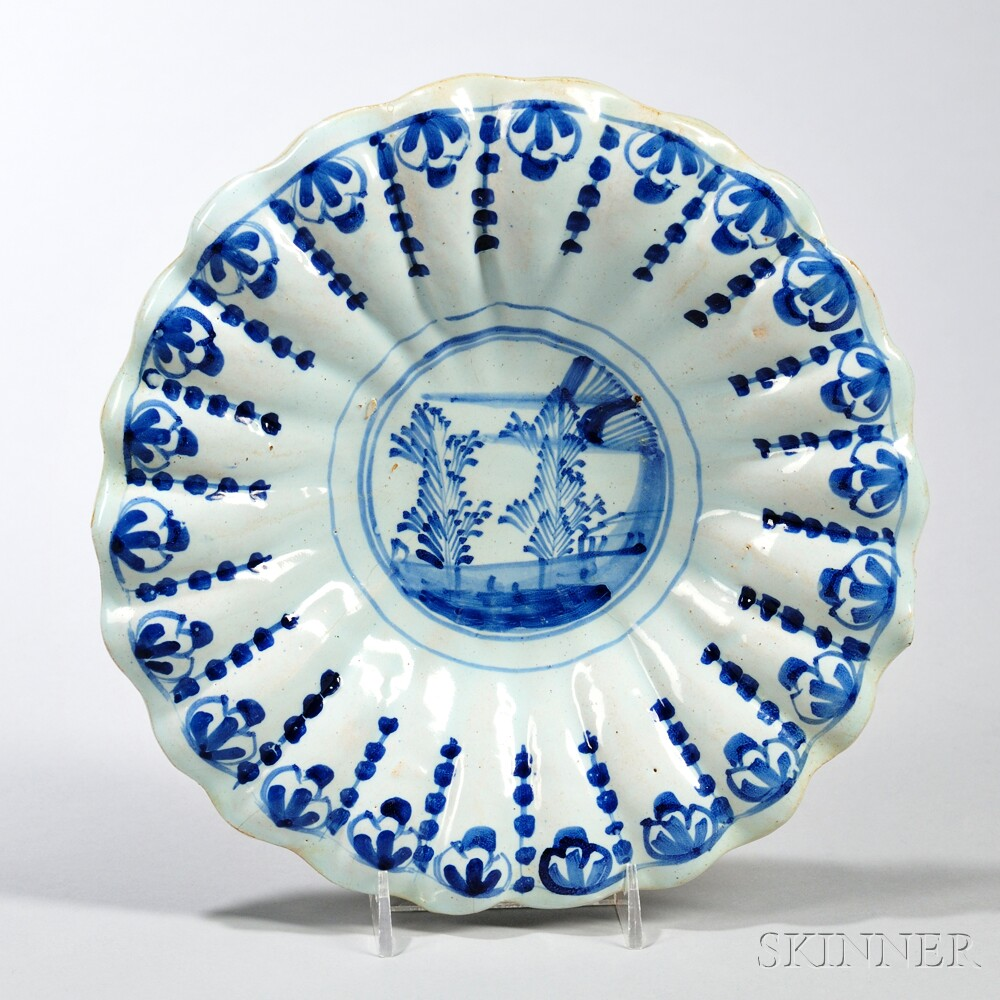 Tin-glazed Earthenware Fluted Shallow Bowl
