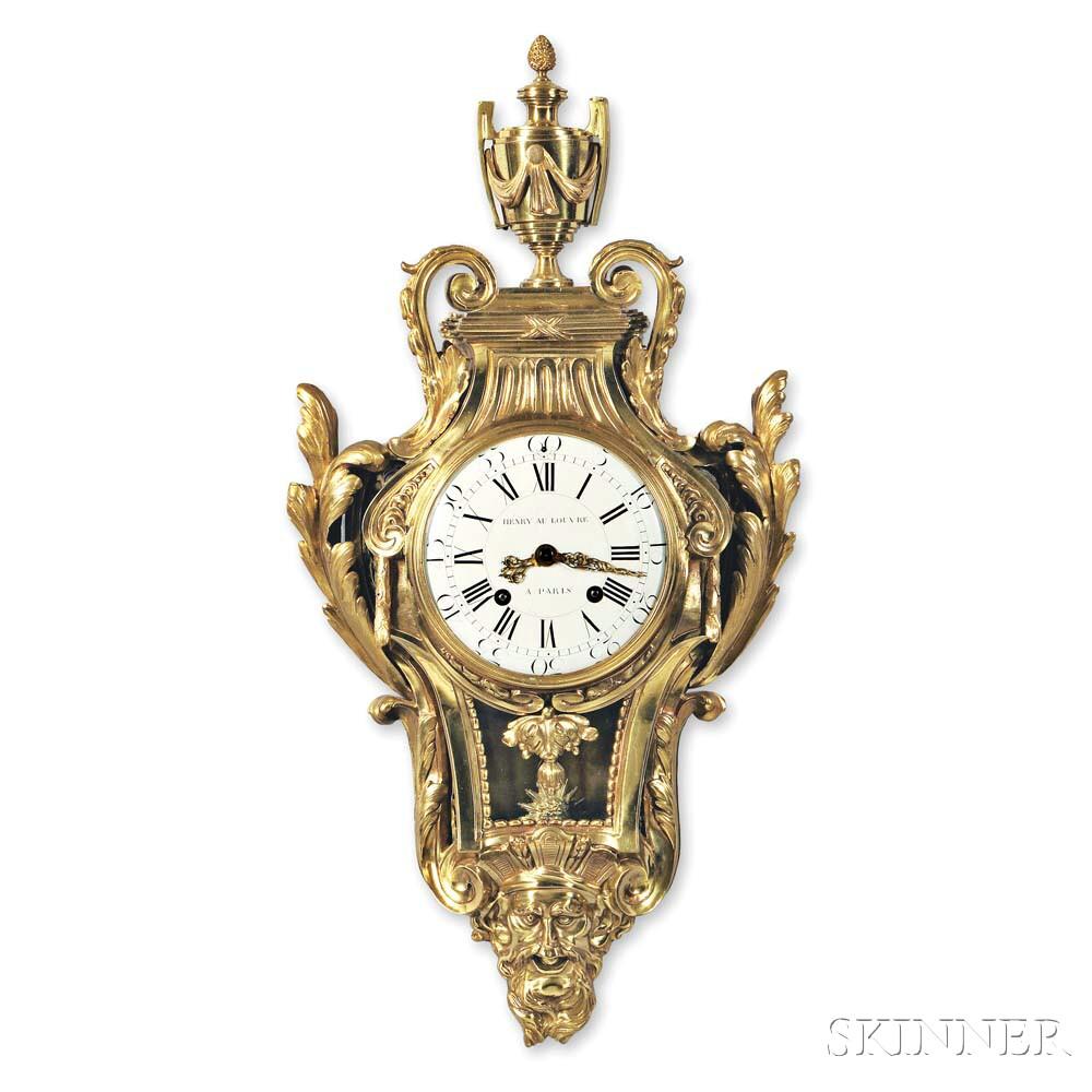 Henry Au Louvre Brass Cartel Clock