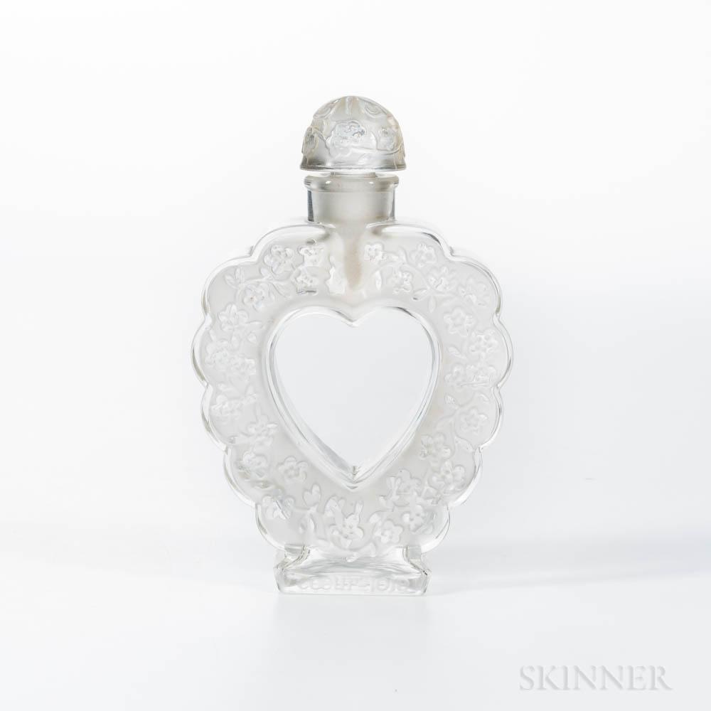 "Lalique for Nina Ricci ""Coeur-Joie"" Molded Glass Heart Perfume"