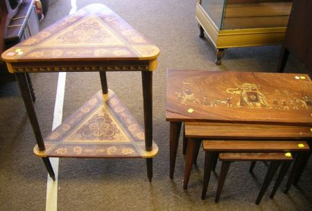 Italian Marquetry Decorated Music Box Table and a Nest of Four Indian Scenic Marquetry Tables.
