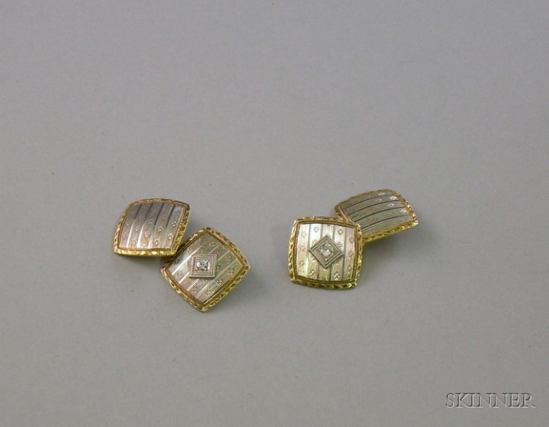 Edwardian 14kt Bicolor Gold and Diamond Cuff Links