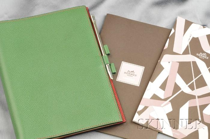 """Green Leather """"Globe Trotter"""" Agenda, Hermes"""