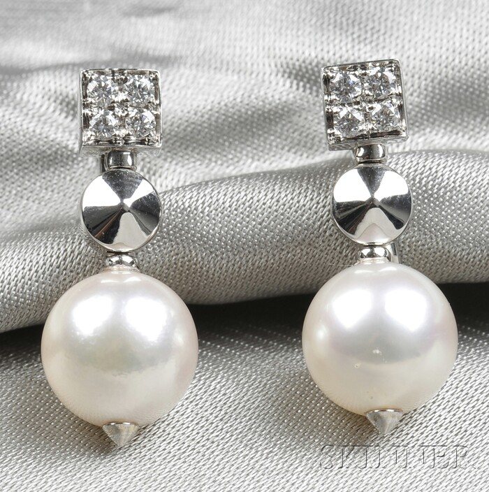 18kt White Gold, Cultured Pearl, and Diamond Earclips, Bulgari
