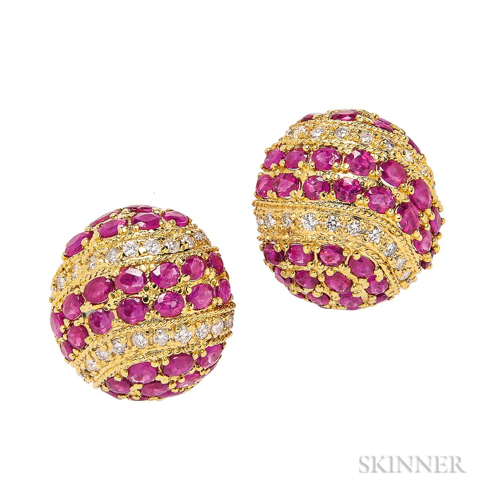 18kt Gold, Ruby, and Diamond Earrings